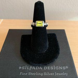 Silpada vintage peridot & silver ring - size 7.